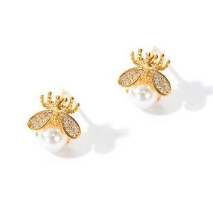 Fashion Gold Cute Bee Pearl Crystal Animal Earrings Ear Stud Women Jewelry Gifts