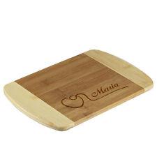 la tabla de cortar bambú BICOLOR incl. Grabado motivo corazón con CURVA