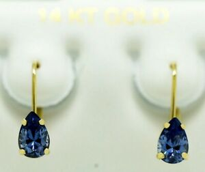TANZANITE 1.26 Cts EARRINGS 14k Gold LEVER BACKS ** NEW WITH TAG** Made in USA