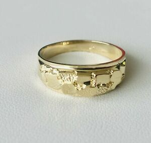 14K Textured Raw Nugget Pattern Design Band Mens Ring Yellow Gold
