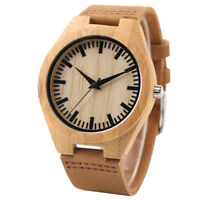 Wooden Watch Unique Natural Wood Wrist Mens Womens Watch Gift Leather Fashion