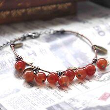 Adjustable Bronze Red Cherry Berry Beaded Charm Bracelet
