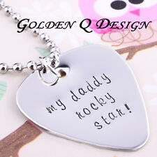 Personalised Stainless Steel Any Word Guitar Pick Necklace Valentine's Day D137