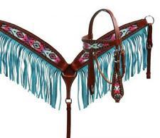 SHOWMAN Pastel Navajo headstall and fringe breast collar set! NEW HORSE TACK!
