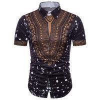 African Tribal Shirt Men Dashiki Print Succinct Hippie Top Short Sleeve Shirt