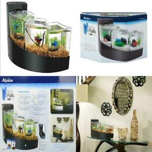 Aqueon Betta Falls Aquarium Three Tier Waterfall Bettas Fish Tank, Black, NEW