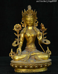 "11""Old China Tibet Buddhism Brass White Tara Spirit Of Compassion Goddess Statue"