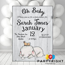 Personalised Baby Elephant Girl Or Boy Baby Shower Invite Party Card - 10