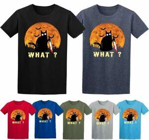 Halloween Black Cat What? T-shirt Murderous Black Cat Halloween Scary T-shirt