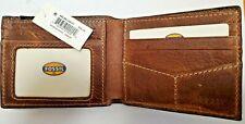 FOSSIL Mens Reynolds Leather Slim Bifold Wallet Dark Brown ML3514201