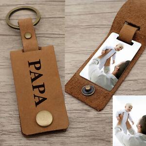 Photo Keychain Custom Photo Keyring Personalized Leather Keychain Gift for Him
