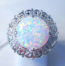 "GORGEOUS WHITE  FIRE OPAL  RING UK Size ""O""  US 7.5"