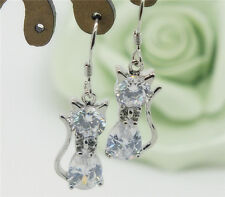 1 Pair Fashion Jewelry Clear CZ Crystal Silver Plated Cat Dangle Drop Earrings