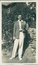 Photograph 1930's Man Dressed For Tennis flannels & Jacket