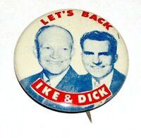 1952 DWIGHT EISENHOWER NIXON campaign political pin pinback button presidential