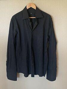 Boss Hugo Boss Button Up Shirt Men Size 17 34/35 Black Striped Sleeve for Cuffs