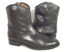 FRYE Melissa Button Zip Short Women's Size 8 Black Vintage Leather Boots XF-111*