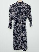 [ DAVID LAWRENCE ] Womens Wrap Midi Leopard Print Dress  | Size M or AU 12