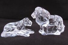 SALE STUNNING CRYSTAL GLASS LION & LIONESS FIGURES WILD ANIMALS SAFARI ORNAMENT