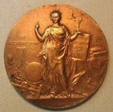 Art Nouveau Ministry of Public Instrution Bronze Medal by Alphée Dubois 1899 M9a