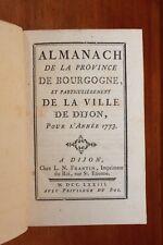 1773 Dijon Bourgogne Almanach Bibliophilie Reliure Superbe Grands noms fonctions
