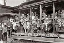 Vintage Old New York  Photo Brooklyn Trolley Street Cars Women Children 1913