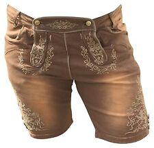 Trachtenhosen Jeans Herren Hosen Bermuda Freizeithosen Lederhosenoptik Braun 48