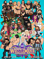 Wrestlemania 34 2018 Cartoons Cena Lesnar Reigns Wrestling Glossy Print 8x10 WWF