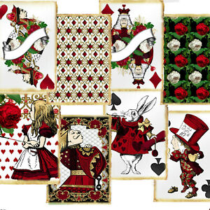 9 Alice In Wonderland Card Toppers,Card Making, Scrapbooking,Journaling, Red