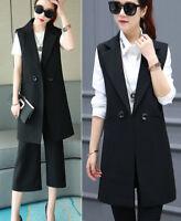 Women Casual Lapel Sleeveless Long Waistcoat slim Coat Suit Vest Cardigan Jacket