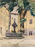 Impressionniste Max Jaubert Aquarelle Fontaine en Cotignac Personnes France