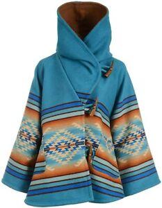 Womens's Blue Hooded Wool Blend Beth Dutton Kelly Reilly Coat