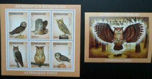 Azerbaijan 2001 owls birds of prey s/s+ klb MNH