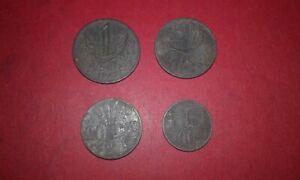 Bohemia and Moravia WW2 4 zinc coins complete set 1941 to 1944