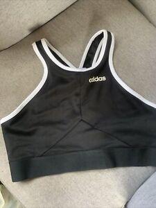 Adidas Sports Crop Top/bra.black & White 16-18.Large