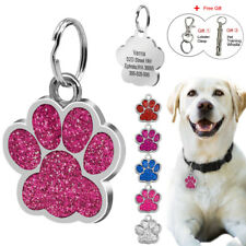 Customized Dog Tags Puppy Pet ID Name Collar Tag Paw Free Glitter and Whistle