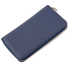 New $2035 BRIONI Blue Grained Leather Zipped Travel Ticket Holder Wallet