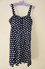 Sz 16 Navy Blue & White Spot Rockabilly Bustier 50's Style Strappy Skater Dress
