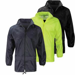 Unisex Plain Rain Coat Mac Kagoul Jacket Water Proof Cagoul Adults Men Boys
