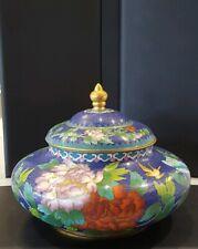 Vintage Cloisonne Lidded Enamel Floral Urn Jar