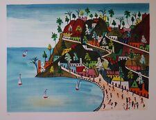 Préfète DUFFAUT : Bord de mer en Haiti - LITHOGRAPHIE originale Signée ART NAIF