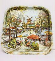 "Vintage Daher Decorated Ware Tin Tray Parisian Street Scene 14""X14"""