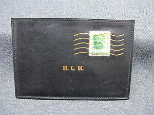 Vintage Mark Cross black leather real stamp envelope shaped cards case Italy