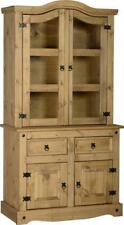 Corona 3' Buffet Hutch Distressed Waxed Pine Glass Wooden Cabinet Display Unit