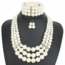Resin Pearl Beads Chunky Choker Fashion Strand Chain Statement Bib Necklace Set