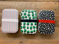 NWT Anthropologie Clare V. Black Green Dot Bento Box Set of 3 Bamboo Melamine