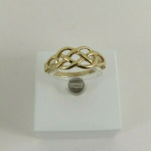 9ct Gold Celtic Ring Knot Design Band Hallmarked Size 'M'  with gift box