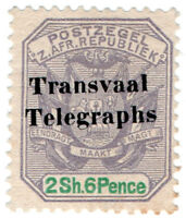(I.B) Transvaal Telegraphs : 2/6d Overprint