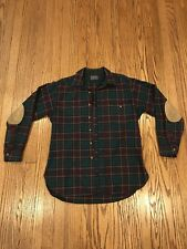 VTG Pendleton Green Red Wool Shirt Men's L Plaid Button Flannel Woolrich USA