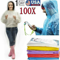 100PCS Emergency Hooded Poncho Rain Coat Disposable Protect Gown Waterproof wear